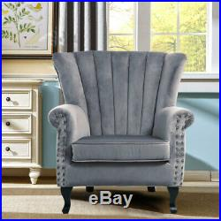 Grey Velvet Wing Back Occasional Lounge Accent Chair Fabric Armchair Sofa Seat