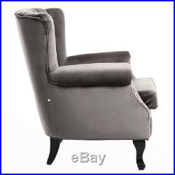 Grey Wing Back Fireside Check Linen Fabric Armchair Sofa Lounge Cinema Chair