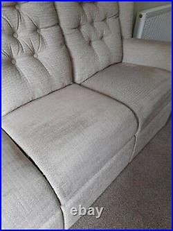HSL high back sofa with 2 x wing back chairs in a natural matching fabric