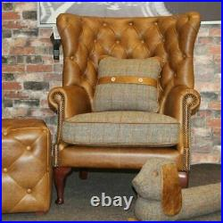 Harris Tweed & Brown Cerato Aniline Leather Wing Wrap Chair In Gamekeeper Thorn