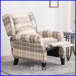 High Back Orthopedic Recliner Armchair Sofa Tartan Checked Lounge Winged Chair