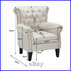 High Back Wing Armchair Beige Check Fabric Upholstered Single Sofa Lounge Seater