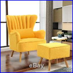 High Wing Back Armchair Accent Chair Upholstered Sofa with Footstool and Pillow