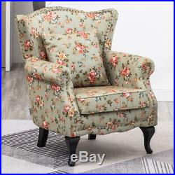 High Wing Back Armchair Floral Fabric Chair Fireside Flower Seat Vintage Sofa UK