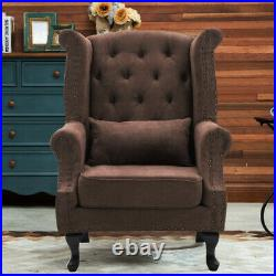 High Wing Back Fireside Chair Chesterfield Queen Anne Fabric Wool Armchair Seat