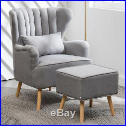 Large Fabric Tub Chair Armchair Wing Back Accent Chair Sofa With Footstool Chair