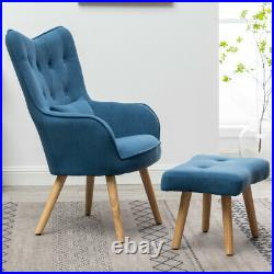 Lazy Lounger Chair Armchair with Footstool Winged High Back Corner Single Sofa