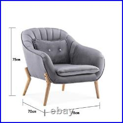 Lazy Recliner Occasional Lounge Chair Shell Back Winged Chair Tub Armchair Sofa
