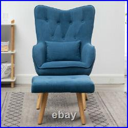 Leisure Wing Back Sofa Chair Button Armchair With Footstool Velvet Upholstered