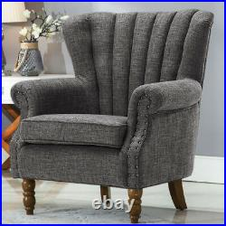 Linen Big Retro Upholster Wing Back Fabric Armchair Lounge Fireplace Chair Sofa