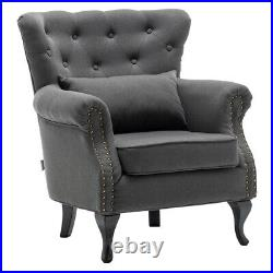Linen Chesterfield Scallop Button Armchair Wing Back Anne Seat Lounge Sofa Chair