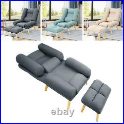 Linen Fabric Chesterfield Sofa Armchair Wing Back Lounge Bedroom Chair Footstool