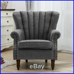 Linen Fabric Queen Anne Wing Back High Back Cottage Fireside Chair Armchair Sofa