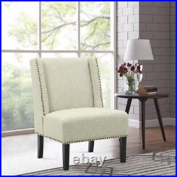 Linen Fabric Tub Sofa Wing Back Dining Chair with Rivets Upholstered Accent Chairs