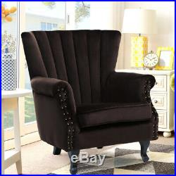 Linen Nail Head Wing Back Armchair Large Lounge Accent Chair Padding Sofa OakLeg