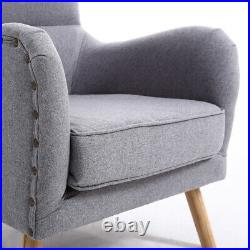 Linen Upholstered Lounge Chair Wing Back Armchair & Footstool Set Fireside Sofa