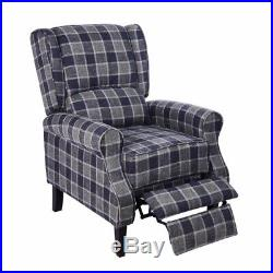 Living Room Recliner Armchair Vintage Wing Back Fireside Check Fabric Sofa Chair