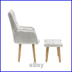 Luxurious Velvet Armchair Accent Wing High Back Chair with Stool Footrest Modern