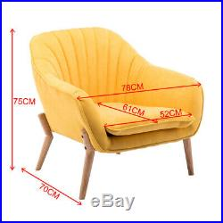 Luxury Oyster Chair Sofa Nordic Armchair Fabric Tub Seat Wing Back Stripe Yellow