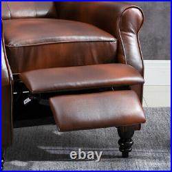 Luxury Retro Brown PU Leather Recliner Chairs Wing Back Occasional Armchair Sofa