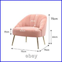 Matte Velvet Pink Armchair Scallop Back Shell Chair Barrel Seat Oyster Wing Back