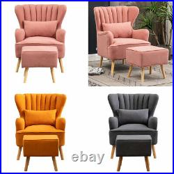 Modern Accent Chair Wing Back Fabric Armchair Padded Lazy Sofa Reclining Lounge