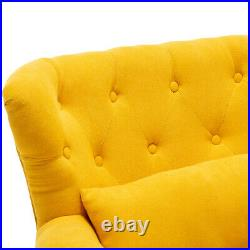 Modern Chenille Buttoned Back Armchair 1 Seater Sofa with Rivets Winged Chair Cafe