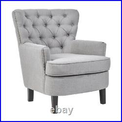 Modern Fabric Armchair Upholstered Accent Buttoned Club Chair Wing Sofa Stool UK