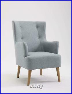 Modern Grey Occasional Wing Back Button Armchair Retro Upholstered Fabric Sofa
