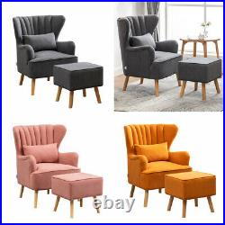 Modern Lounge Accent Wing Back Tub Chair Armchair With Stool Matte Velvet Sofa