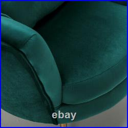 Modern Occasional Cocktail Velvet Accent Tub Chair Wing Back Armchair Sofa Green