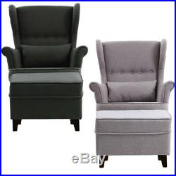Modern Wing Back Chair High Backed Fabric Buttoned Sofa Armchair With Foot Stool