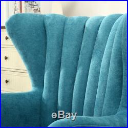 Modern Wing Back Fabric Tub Chairs Armchair for Living Room Reception with Stool