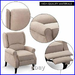 Modern Wing Back Recliner Sofa Chair Fabric Fireside Occasional Armchair Seat