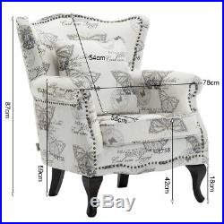 Morden Upholstered Fabric Armchair Printed Lounge Winged Chair Fireside Big Sofa