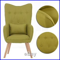 Mustard/Grey Winged Tufted Linen Fabric Accent Chair Tub Sofa Armchair Lounge UK