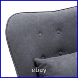 Nordic Leisure Single Sofa Lounge Chair Armchair with Footstool Wing Back Velvet