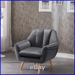 Nordic Scallop Oyster Back Velvet Soft Armchair Tub Wing Chair Upholstered Seat