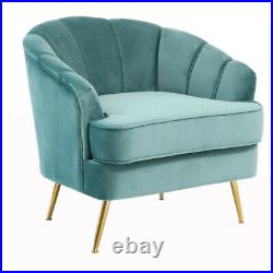 Nordic Style Scalloped Wing Back Velvet Armchair Tub Chair Lounge Sofa Metal Leg