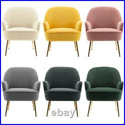 Nordic Velvet Armchair Tub Chair Wing Back Occasional Lounge Sofa Living Bedroom