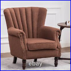 Nordic Wing Back Armchair Fireside Occasional Fabric Tub Chair Chesterfield Sofa