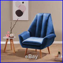 Occasional Accent Bedroom Chairs Wing High Back Armchair Velvet Fabric Sofa Seat