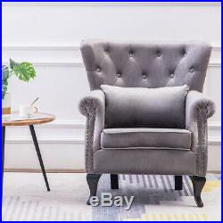 Occasional Chesterfield Tub Chair Upholstered Wing Backed Armchair Lounge Fabric