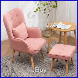 Occasional High Back Velvet/Fabric Armchair with Stool Lounge Sofa Winged Chair