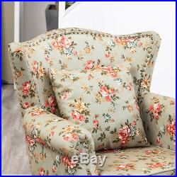 Occasional High Back Wing Chair Floral Fabric Armchair Queen Anne Style Sofa UK