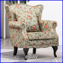 Occasional High Back Wing Floral Fabric Armchair Queen Metallic Rivet Chair Sofa