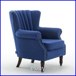 Occasional Linen Cocktail Wing Back Armchair Tub Chair Queen Anne Sofa with Rivets