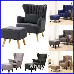 Occasional Lounge Sofa Wing Back/Button/Oyster Living Bedroom Tub Chair Armchair