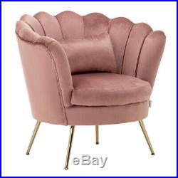 Occasional Oyster Lotus Armchair Velvet Wave Wing Back Chair Sofa Scalloped Seat