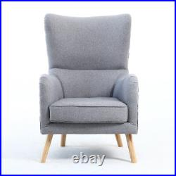 Occasional Padded Orthopedic Wing High Back Armchair Fabric Chair with Footstool